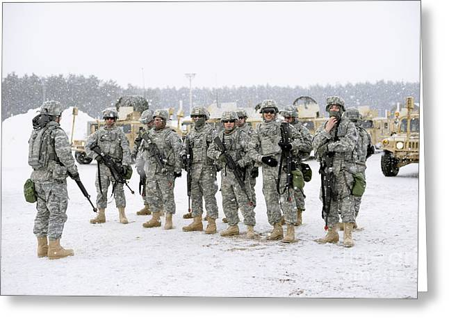 Mccoy Photographs Greeting Cards - Soldiers Listen To A Safety Briefing Greeting Card by Stocktrek Images