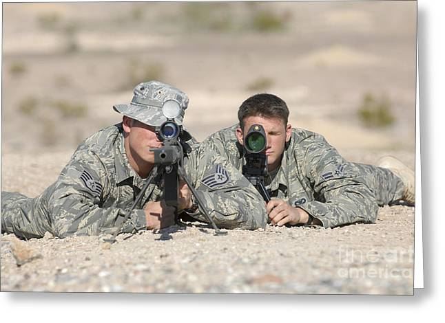 Bipod Greeting Cards - Soldiers Look Through The Scope Greeting Card by Stocktrek Images