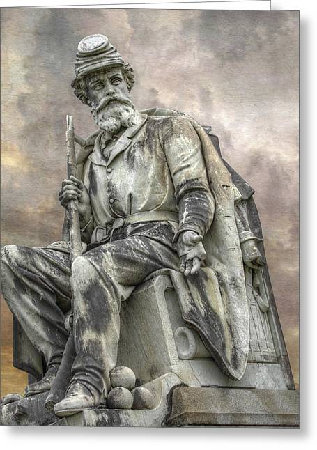 Confederate Monument Greeting Cards - Soldiers National Monument War Statue Gettysburg Cemetery  Greeting Card by Randy Steele