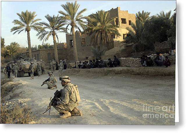 Operation Iraqi Freedom Greeting Cards - Soldiers Of The U.s. Army Provide Greeting Card by Stocktrek Images