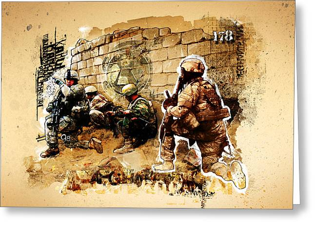Toby Greeting Cards - Soldiers on the Wall Greeting Card by Jeff Steed