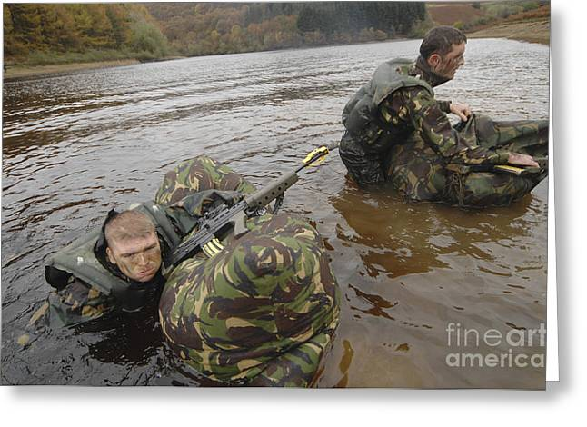 Physical Exhaustion Greeting Cards - Soldiers Participate In A River Greeting Card by Andrew Chittock
