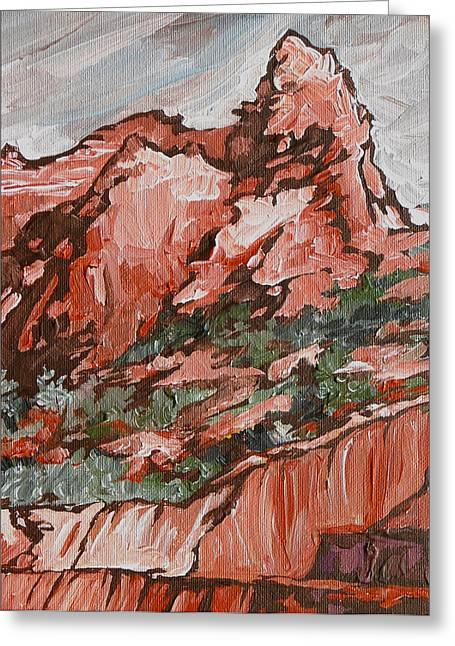 Sink Hole Paintings Greeting Cards - Soldiers Pass Trail Greeting Card by Sandy Tracey