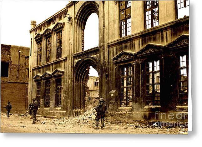 Baghdad Greeting Cards - Soldiers Patrolling Past The Facade Greeting Card by Stocktrek Images