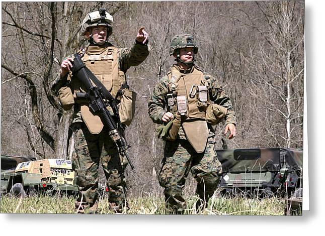 Soldiers Perform A Site Survey In Camp Greeting Card by Stocktrek Images