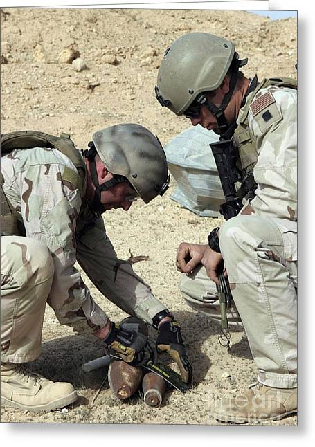 Detonating Greeting Cards - Soldiers Prepare To Detonate A Mortar Greeting Card by Stocktrek Images