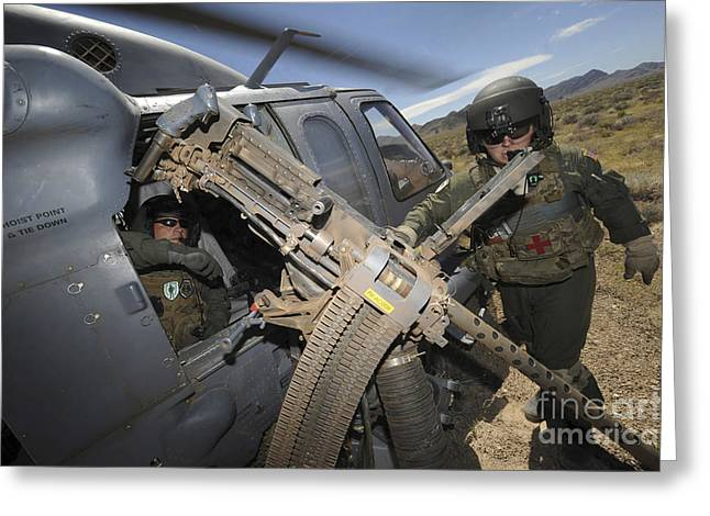 .50 Caliber Greeting Cards - Soldiers Prepare To Reload A .50 Greeting Card by Stocktrek Images