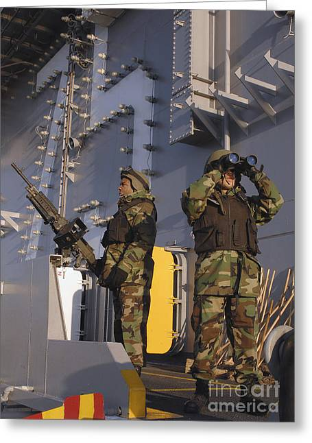 7.62mm Greeting Cards - Soldiers Provide Security Aboard Uss Greeting Card by Stocktrek Images