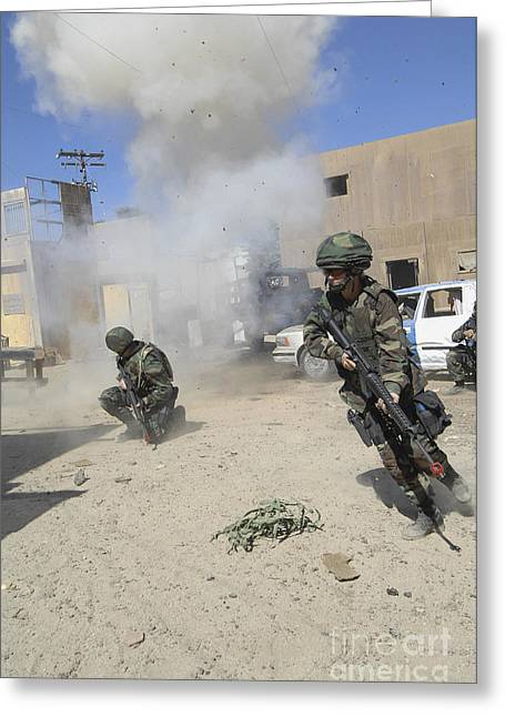 Iraqi Military Greeting Cards - Soldiers React To A Simulated Greeting Card by Stocktrek Images