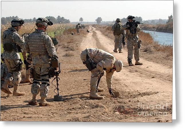 Color Bending Greeting Cards - Soldiers Secure An Improvised Explosive Greeting Card by Stocktrek Images