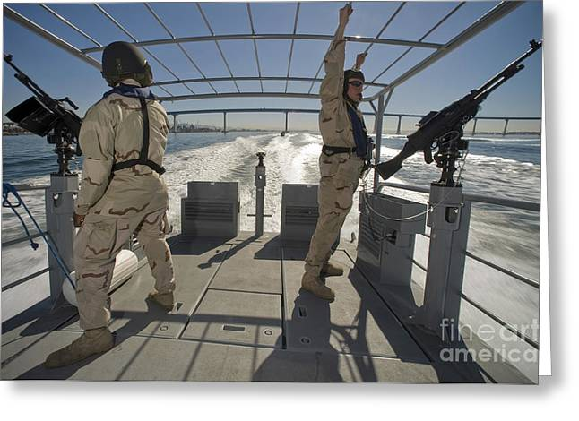 Soldiers Serve As Aft Lookouts Greeting Card by Stocktrek Images