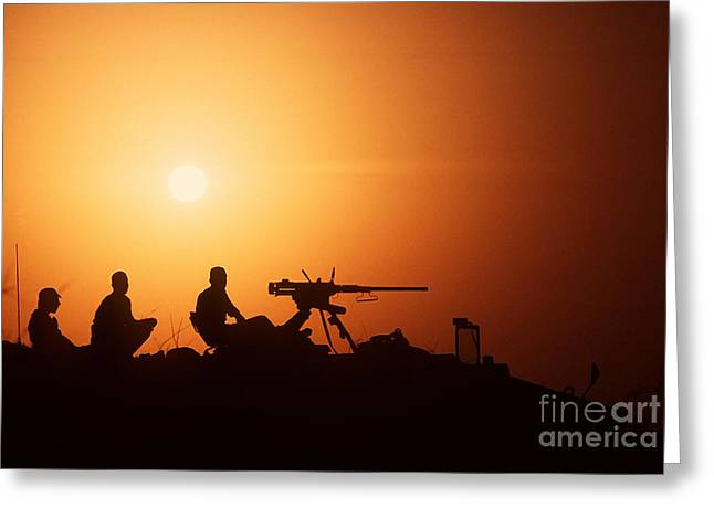 Soldiers Set Up A Security Outpost Greeting Card by Stocktrek Images