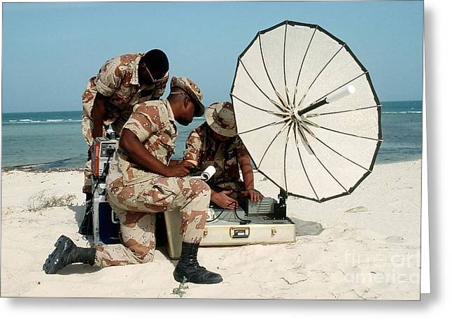 Soldiers Set Up The Tcs-9200 Lite Greeting Card by Stocktrek Images