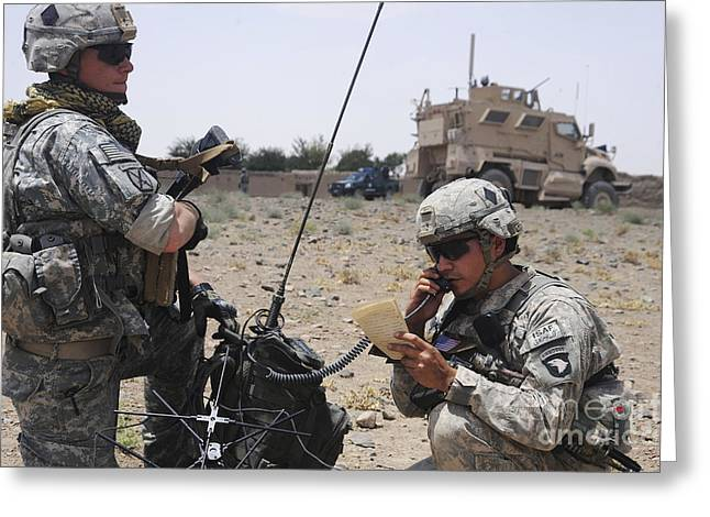 Portable Greeting Cards - Soldiers Setting Up A Satellite Greeting Card by Stocktrek Images