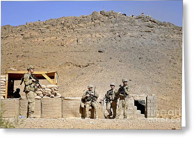 Zabul Greeting Cards - Soldiers Wait For Afghan National Greeting Card by Stocktrek Images
