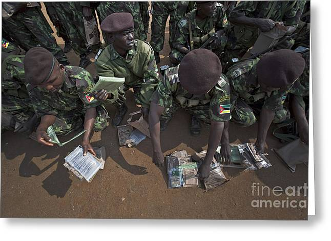 Reading Of Image Greeting Cards - Soldiers With The Armed Forces Greeting Card by Stocktrek Images