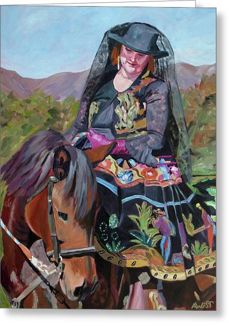Horse And Rider Greeting Cards - Solecitas Pride Greeting Card by Anne West