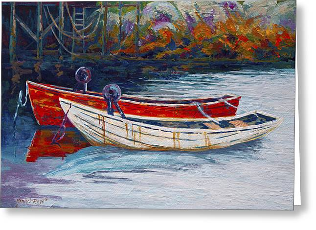 Docked Boats Greeting Cards - Solid Foundation Greeting Card by Marion Rose