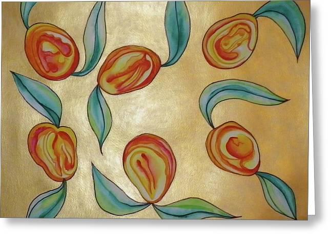 Mango Paintings Greeting Cards - Solid Gold Dancing Mangos Greeting Card by Erika Swartzkopf