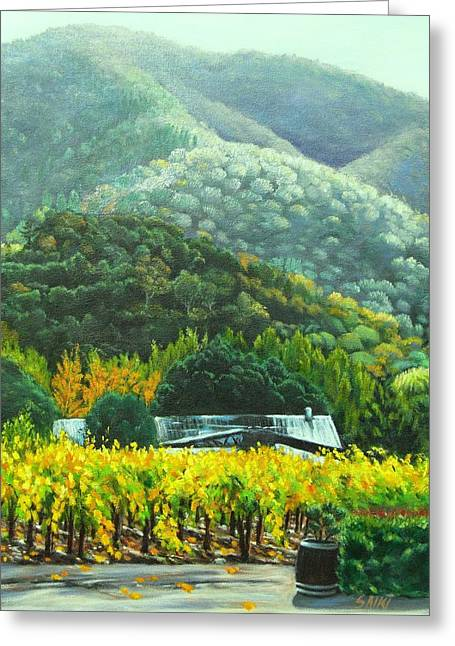 Gilroy Greeting Cards - Solis Winery in the Fall Greeting Card by Lorna Saiki
