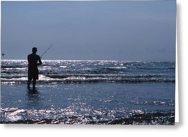 SOLITARY ANGLER Greeting Card by Skip Willits