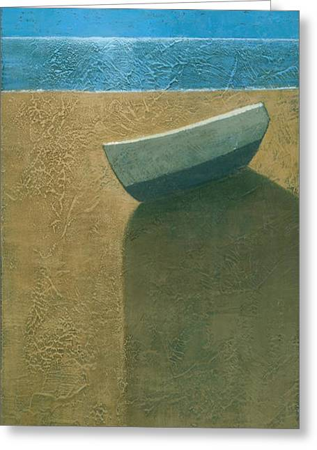 Blue Shadows Greeting Cards - Solitary Boat Greeting Card by Steve Mitchell