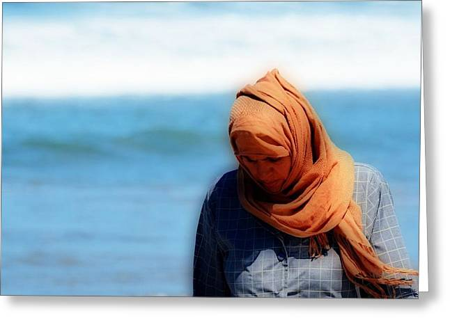 Head Covered Greeting Cards - Solitary Greeting Card by Fraida Gutovich