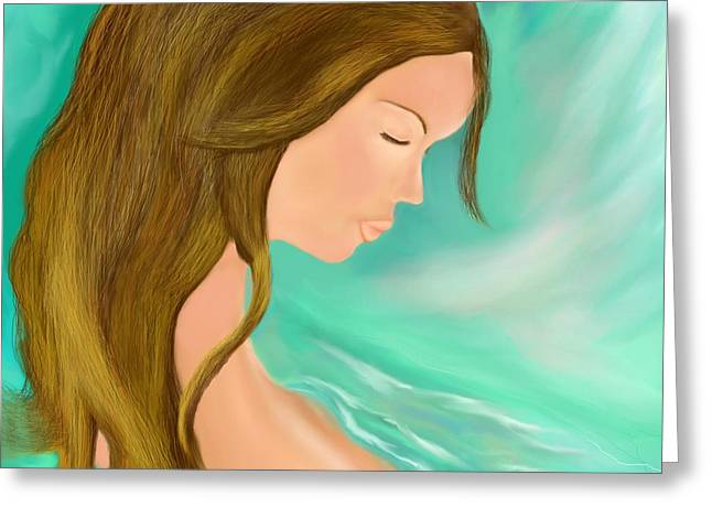 Floating Girl Greeting Cards - Solitude 1 Greeting Card by Lori  Lovetere