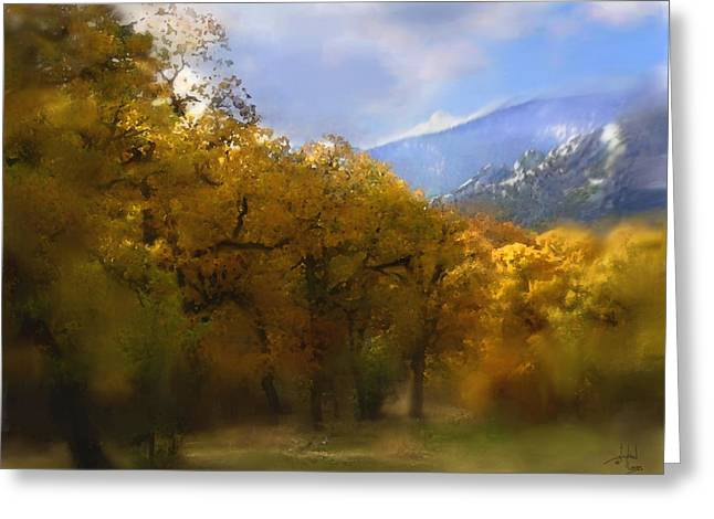 Fall Trees Mixed Media Greeting Cards - Solitude in Gold Greeting Card by Stephen Lucas