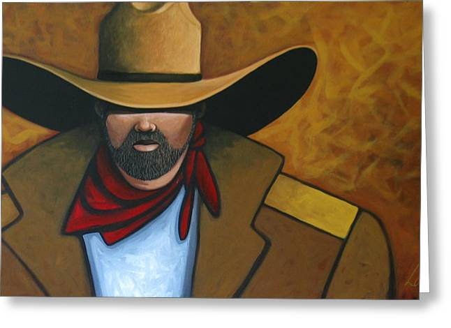 Contemporary Western Greeting Cards - Solo Cowboy Greeting Card by Lance Headlee