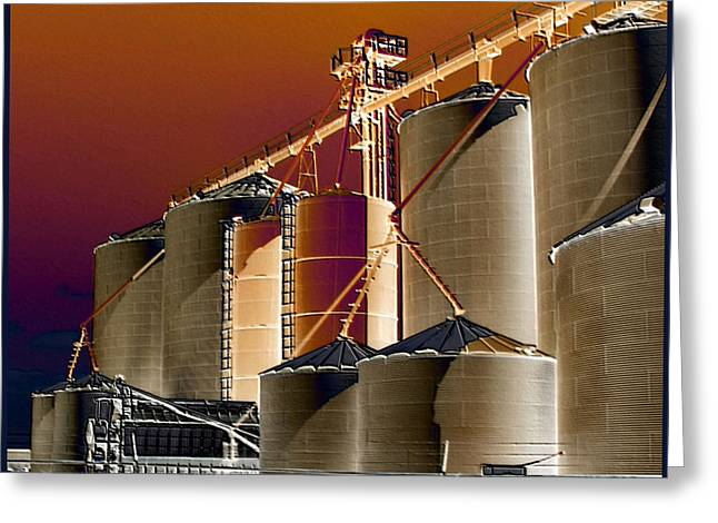 Outbuildings Digital Art Greeting Cards - Soloized Grain Bins Greeting Card by Debbie Portwood