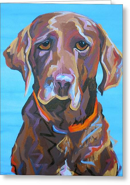 Chocolate Lab Greeting Cards - Soloman Greeting Card by Sarah Gayle Carter