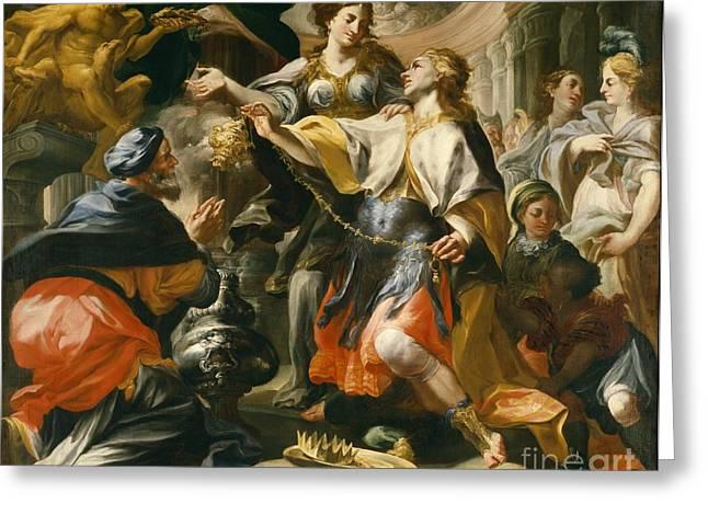 Censored Greeting Cards - Solomon Worshiping the Pagan Gods Greeting Card by Domenico Antonio Vaccaro