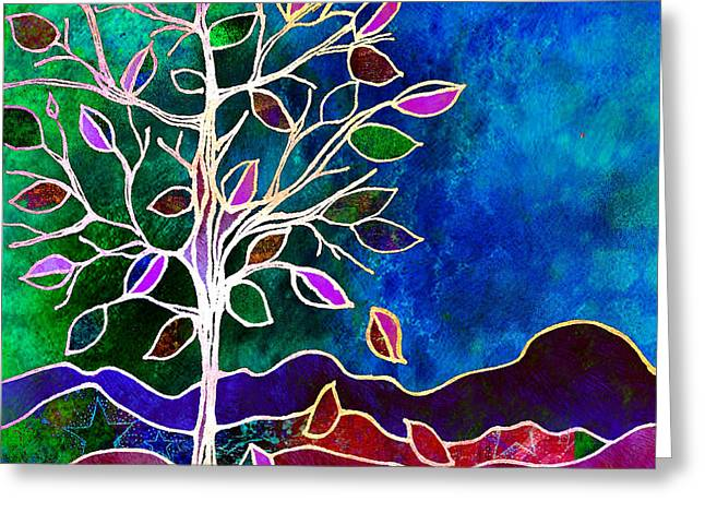 Leaves Digital Art Greeting Cards - Solstice Evening Greeting Card by Robin Mead