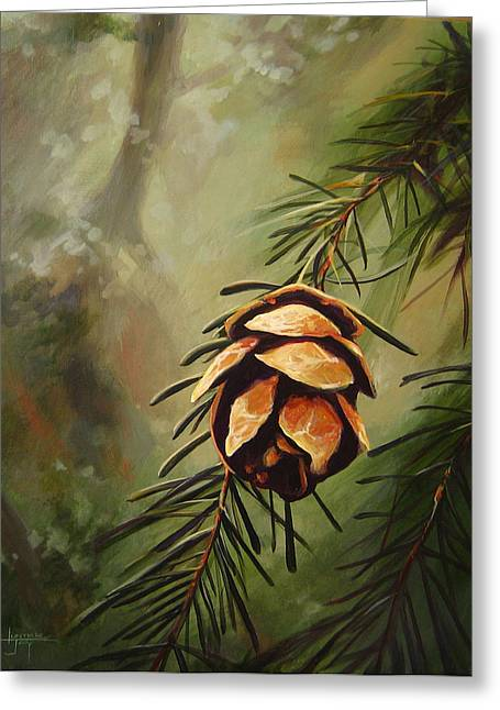 Spruce Cone Greeting Cards - Solstice Greeting Card by Hunter Jay
