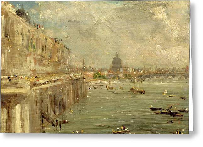Constable Paintings Greeting Cards - Somerset House Terrace from Waterloo Bridge Greeting Card by John Constable