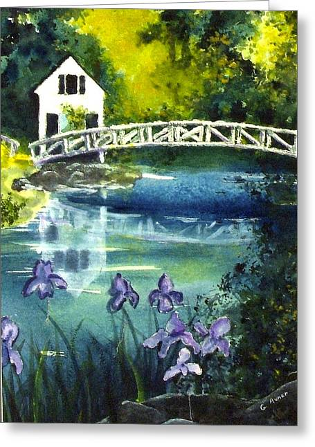 Somesville Bridge Reflections Greeting Card by Gloria Avner
