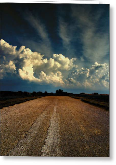 Country Dirt Roads Digital Greeting Cards - Something Wicked Ahead Greeting Card by Bill Tiepelman