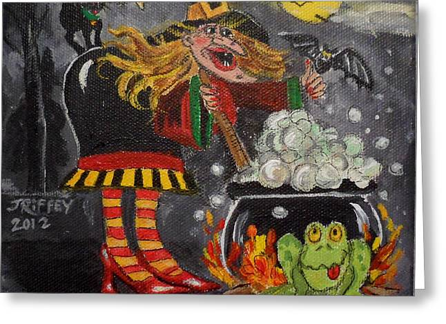 Witches Brew Greeting Cards - Somethings Brewing Greeting Card by Julie Brugh Riffey