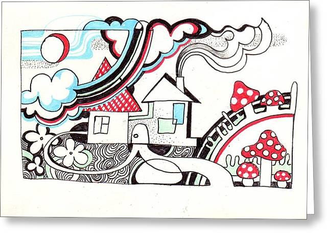 Destiny Drawings Greeting Cards - Somewhere Greeting Card by Margarita Kobyzova