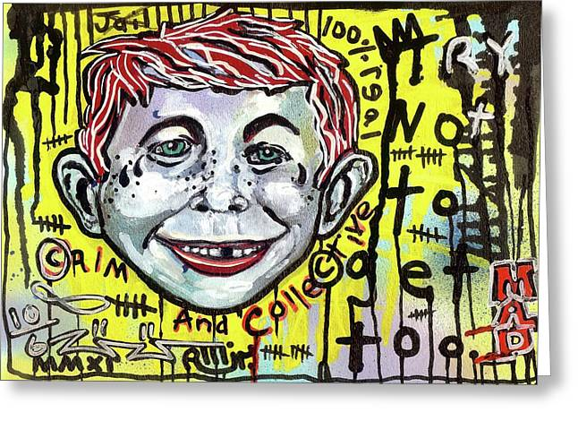 Neo-expressionism Greeting Cards - Somtimes I Worry Greeting Card by Robert Wolverton Jr