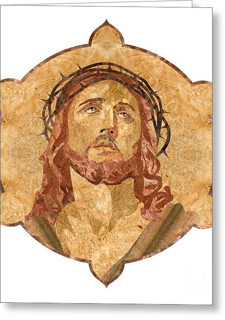 Christ Pyrography Greeting Cards - Son of God Greeting Card by Aydin Kalantarov