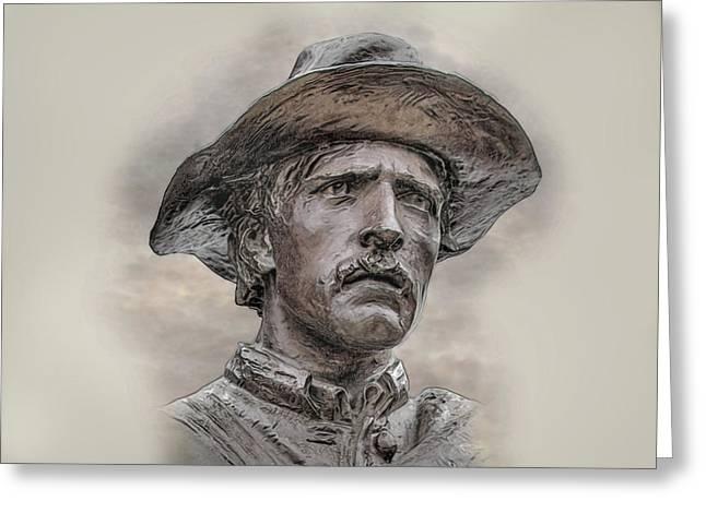 Battle Of Gettysburg Digital Art Greeting Cards - Son of the Confederacy Portrait Greeting Card by Randy Steele
