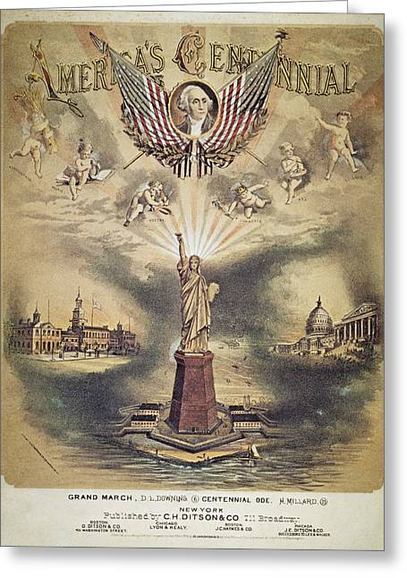 1876 Greeting Cards - Song Sheet Cover, 1876 Greeting Card by Granger