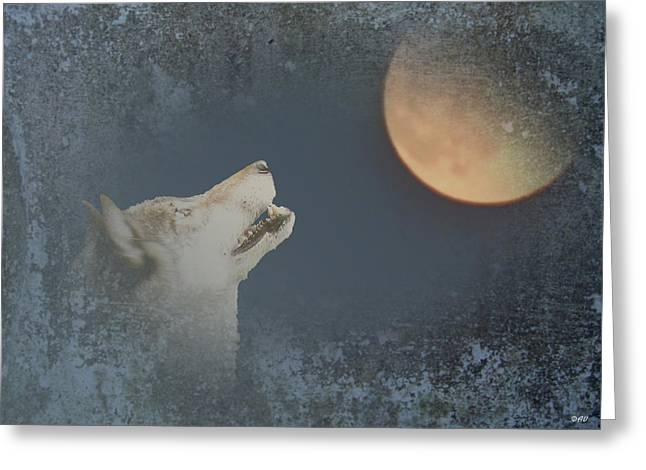 Beauty Of Wolves Greeting Cards - Song To The Moon Greeting Card by Debra     Vatalaro