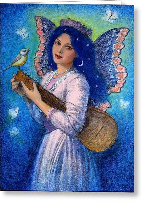 Symbolic Art Greeting Cards - Songbird for a Blue Muse Greeting Card by Sue Halstenberg