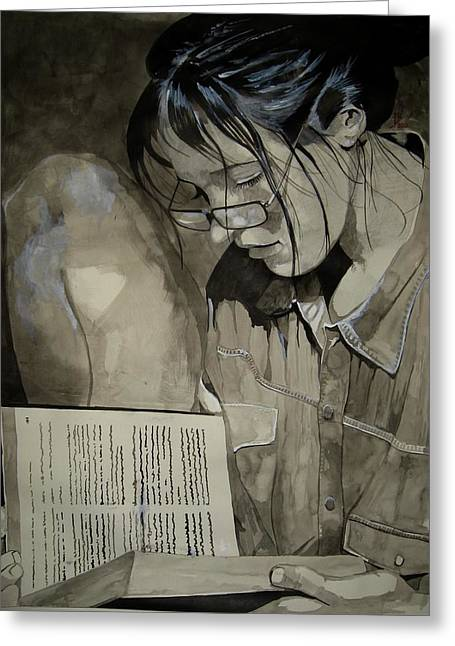 Female ist Mixed Media Greeting Cards - Sonja in Grey Greeting Card by Ray Agius