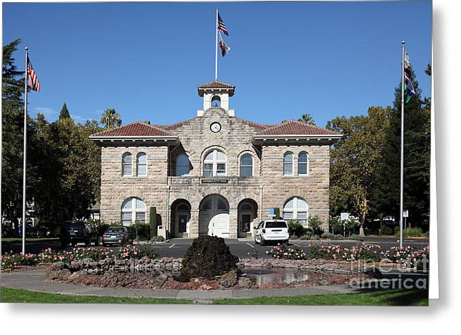 Sonoma Greeting Cards - Sonoma City Hall - Downtown Sonoma California - 5D19260 Greeting Card by Wingsdomain Art and Photography