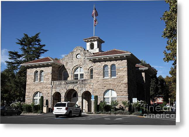Sonoma City Hall - Downtown Sonoma California - 5d19266 Greeting Card by Wingsdomain Art and Photography