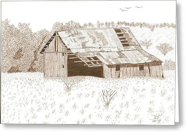 Old Barn Pen And Ink Greeting Cards - Sonora Barn Greeting Card by Pat Price